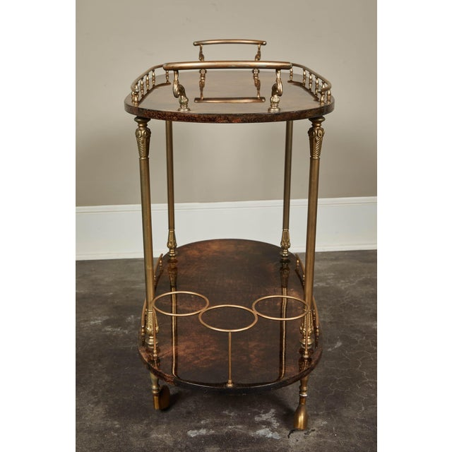 Hollywood Regency 1950's Aldo Tura Parchment Bar Cart Trolley For Sale - Image 3 of 9