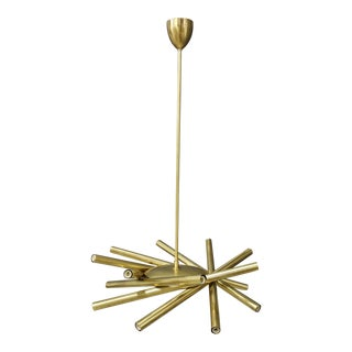 Chandelier in Style Mid Century in Brass With Spokes, 2020s For Sale