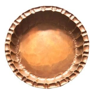 Antique 1940's Craftsman Studios Handmade Copper Bowl / Large Vintage Dish