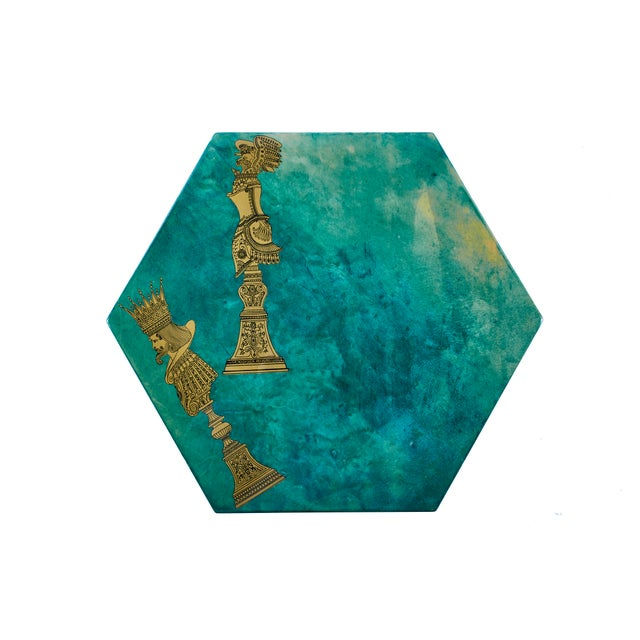 Gold 1950's Aldo Tura Hexagonal Side Table For Sale - Image 8 of 11