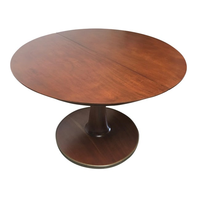 T.H. Robsjohn-Gibbings Expandable Round Mahogany Dining Table For Sale