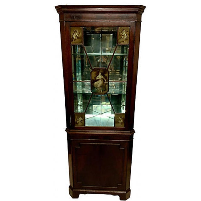 Brown Pair of 19th-C. English Regency Corner Cabinets For Sale - Image 8 of 11
