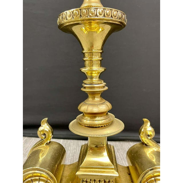 Art Nouveau Vintage Polished Bronze Andirons - a Pair For Sale - Image 3 of 11