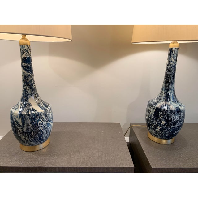 Mid-Century Modern Blue and White Table Lamps With Shades - a Pair For Sale - Image 3 of 8