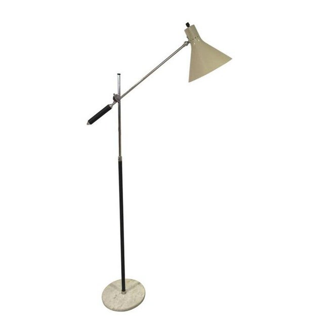 1960's Articulating Italian floor lamp with marble base Rewired and re-chromed with all original parts