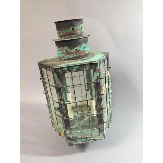 Vintage Copper Maritime Lantern. 4 arm light