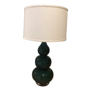 Emerald Green Ceramic Table Lamp With Lucite Base and Linen Shade For Sale