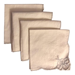 Vintage Beige and Gray Cocktail Napkins - Set of 4 For Sale