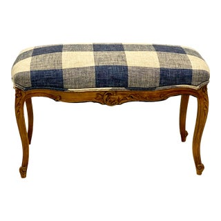 Early 20th-C. Blue & White French Fruitwood Ottoman For Sale