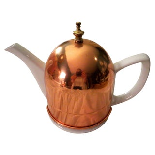 Vintage Copper, Brass, and Ceramic Teapot