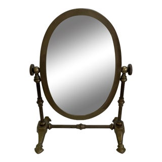 20th Century Victorian Oval Brass Table Mirror For Sale