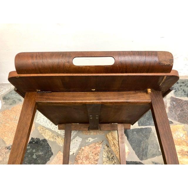 Mid-Century Modern Danish Style Folding Rolling Bar / Tea Cart For Sale - Image 9 of 13