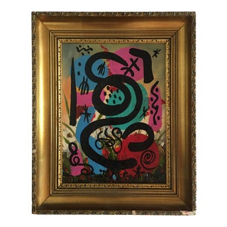Abstract Expressionist Peter Keil Miróvian Style Painting For Sale