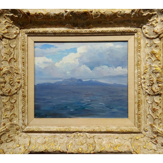 Frank Tenney Johnson -1920s View of the Salton Sea in the California Desert-Oil painting impressionist oil painting on...