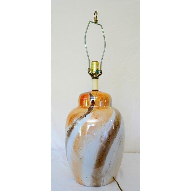 Vintage Faux Marble Ginger Jar Lamp /Shade - Image 3 of 4