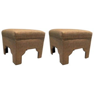 Modern Wheat Colored Linen and Cotton Ottomans- A Pair For Sale