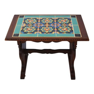 1940s California Mission Tile Oak Accent Coffee Table For Sale