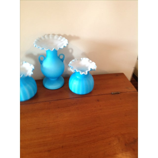 Blue Matte Ruffled-Edged Glass Vases - S/3 - Image 6 of 6