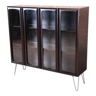 Edmond Spence Swedish Modern Ebonized Bookcase on Hairpin Legs, Newly Refinished For Sale