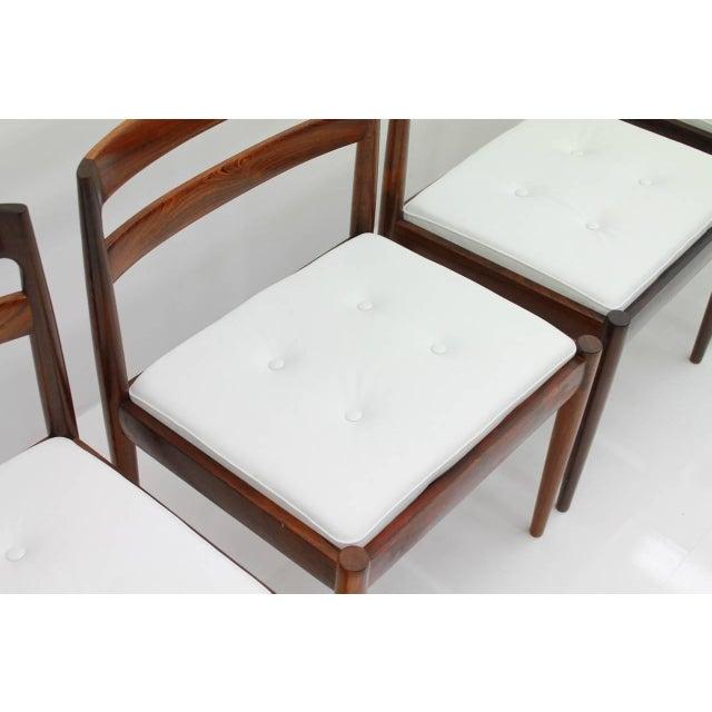 "Animal Skin Kai Kristiansen Dining Chairs ""Universe 301"" for Magnus Olesen Denmark 1960s For Sale - Image 7 of 13"