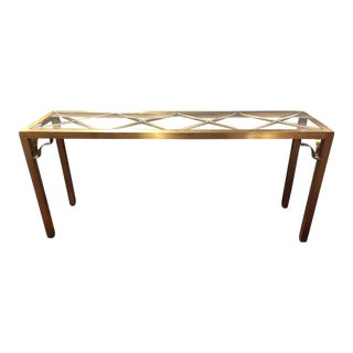 Vintage Hollywood Regency Brass & Glass Console Table For Sale