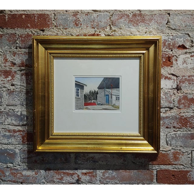 """Gregory Dunham - The cottage w/Blue door- Watercolor Painting paper under glass -Signed frame size 17 x 19"""" paper size 6 x..."""