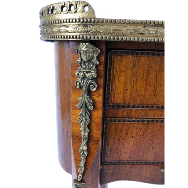 Exquisite Italian Kidney Shaped Inlay Mahogany Nightstand or End Table For Sale - Image 11 of 13
