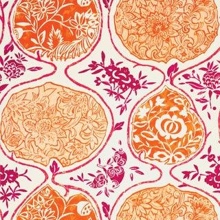Sample - Schumacher Katsugi Wallpaper in Tangerine & Berry Preview