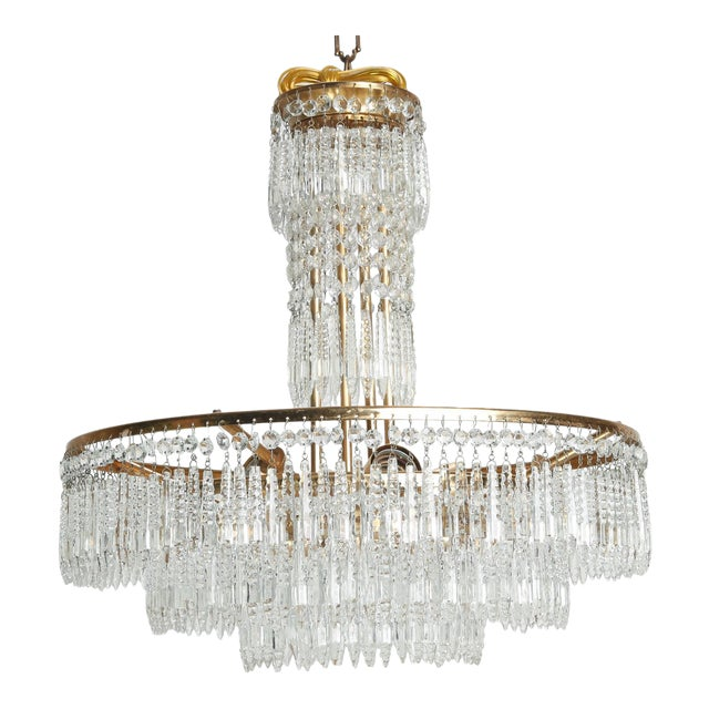 French Hand Cut Crystal and Brass Chandelier For Sale