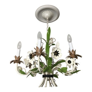 1960s Vintage Tole Flower Chandelier For Sale