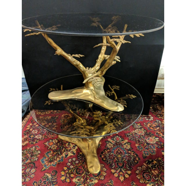 Mid-Century Modern Willie Daro Inspired Mid Century Modern Brass Tree Leaves Glass Top Table Set of 2 For Sale - Image 3 of 9