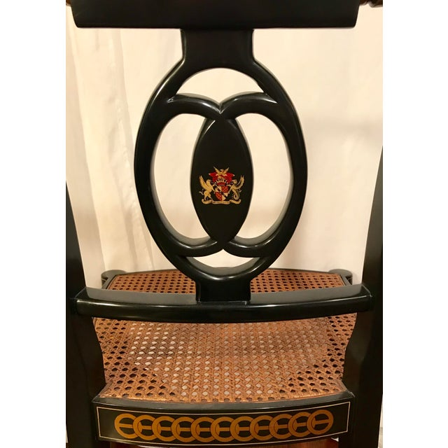 Early 20th Century Hand Painted Black Lacquered Regency Chairs- a Pair For Sale In Los Angeles - Image 6 of 11