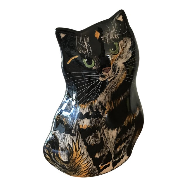 Nina Lyman Tortie Cat Vase For Sale