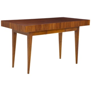 Italian Walnut Table With Single Drawer and Tapered Legs, Style of Gio Ponti For Sale