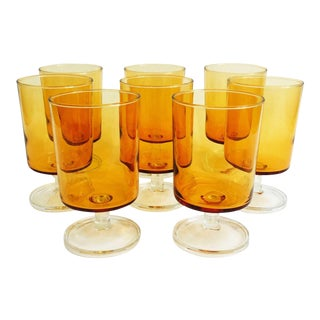 Mid Century Amber Cocktail or Wine Glasses - Set of 8