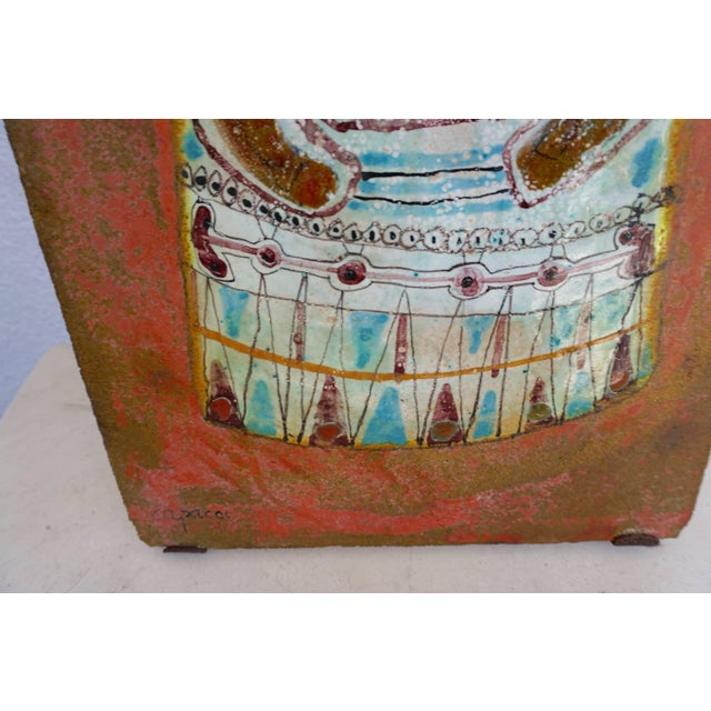 Hand-painted and glazed. Executed in the 1960s by Italian ceramicist Bruno Capacci. Signed at the base of the tile.