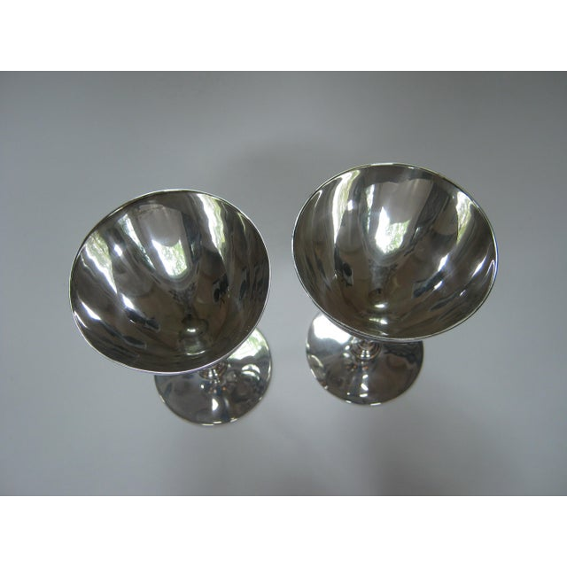 Early 20th Century Vintage Tiffany & Company Sterling Silver Wine Goblets - a Pair For Sale - Image 5 of 6