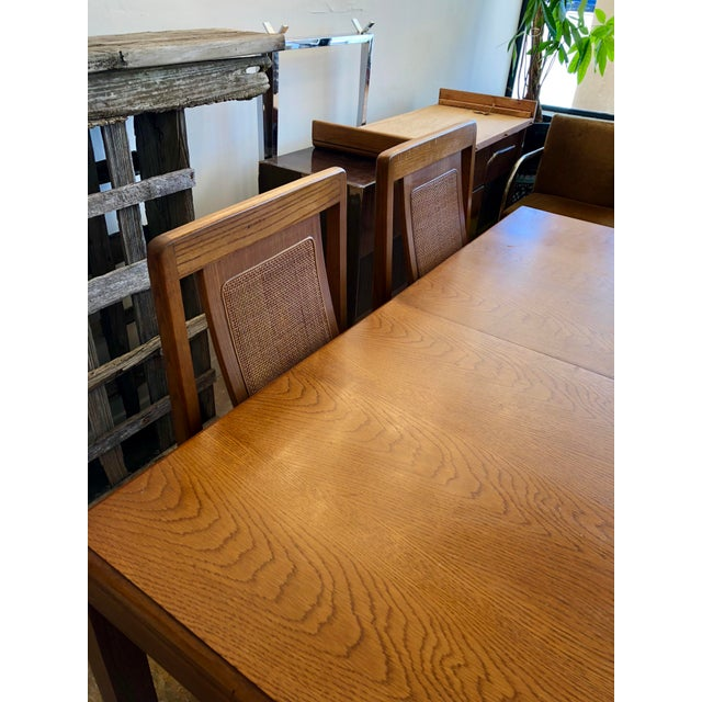 1970s Sears & Roebuck Oak Dining Table with 6 Chairs For Sale In Charleston - Image 6 of 10