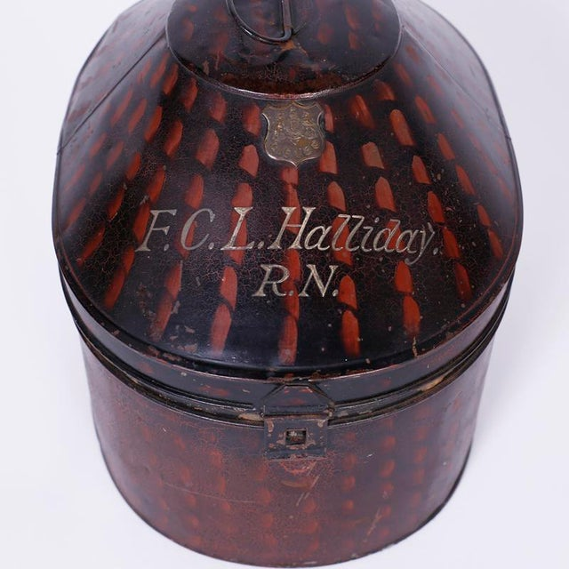 Antique Pith Helmet in Tole Box For Sale In West Palm - Image 6 of 9