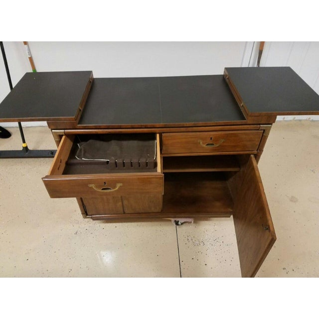 Campaign Drexel Heritage Campaign Style Bar / Buffet Server on Rollers For Sale - Image 3 of 4