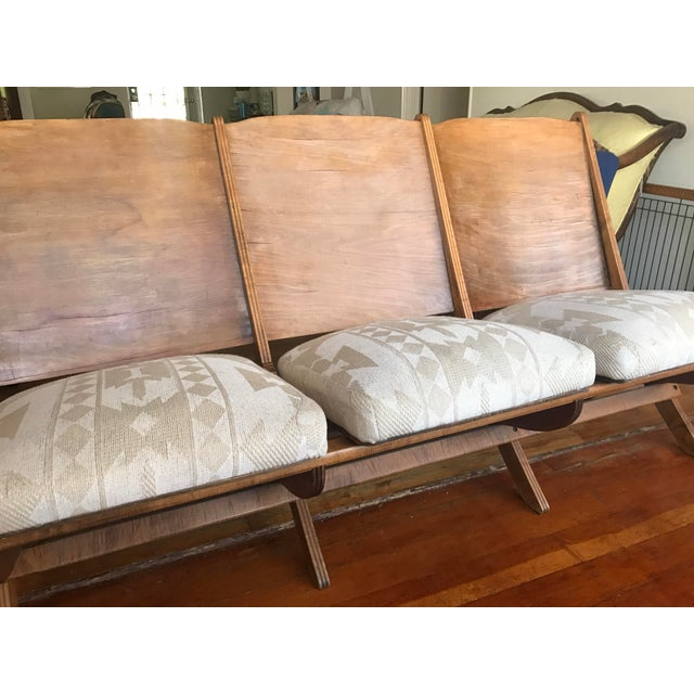 1930s Folding Upholstered Theatre Seats / Bench - Image 4 of 5