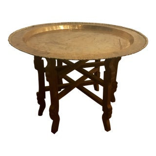Brass Tray Table with Carved Wood Base