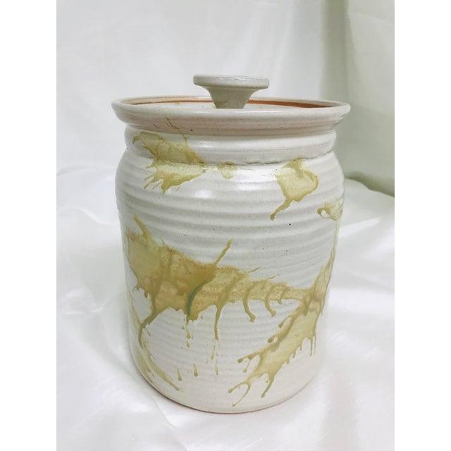Modern Contemporary Glazed Lidded Crock Canister Studio Pottery Jar For Sale - Image 4 of 8