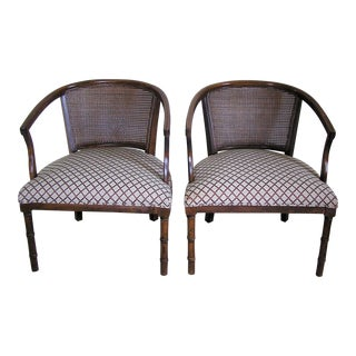 Vintage Cane Barrel Back Arm Chairs- A Pair For Sale