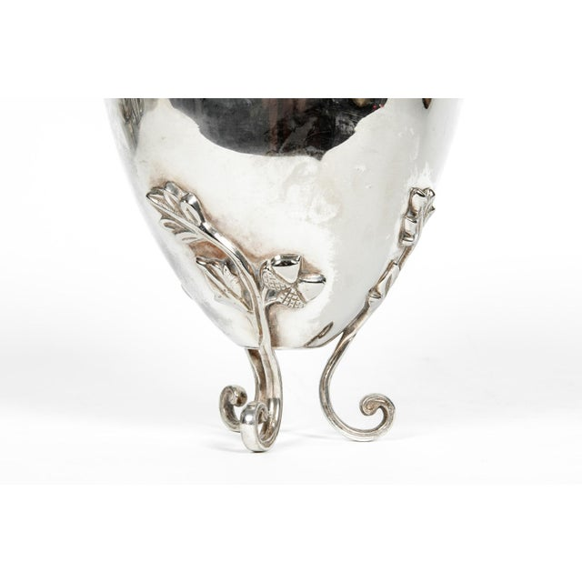 Silver Vintage Silver Plate Legged Ice Bucket or Cooler For Sale - Image 8 of 11