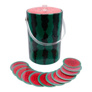 Watermelon Ice Bucket & Set of 12 Matching Coasters For Sale