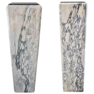 Louis XVI Style Calcutta Marble Pedestals / Jardinieres - a Pair For Sale