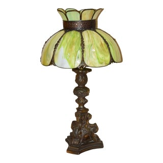 1920s Tiffany Style Slag Glass Shade & Plaster Baroque Alter Candlestick Lamp For Sale