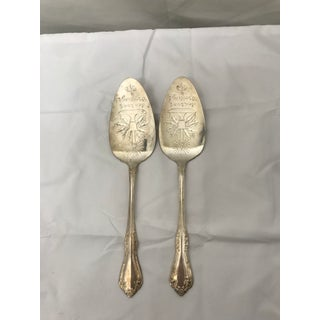 "Mid 20th Century Silver Plated ""Seasons Greetings"" Petit Four Servers - a Pair Preview"