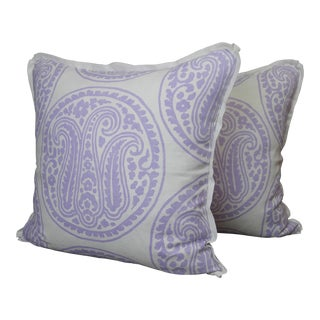 Raoul Textiles Throw Pillows in Mira Linen Print - a Pair For Sale